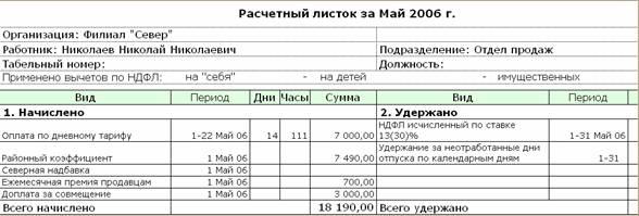 расчетный лист заработной платы образец